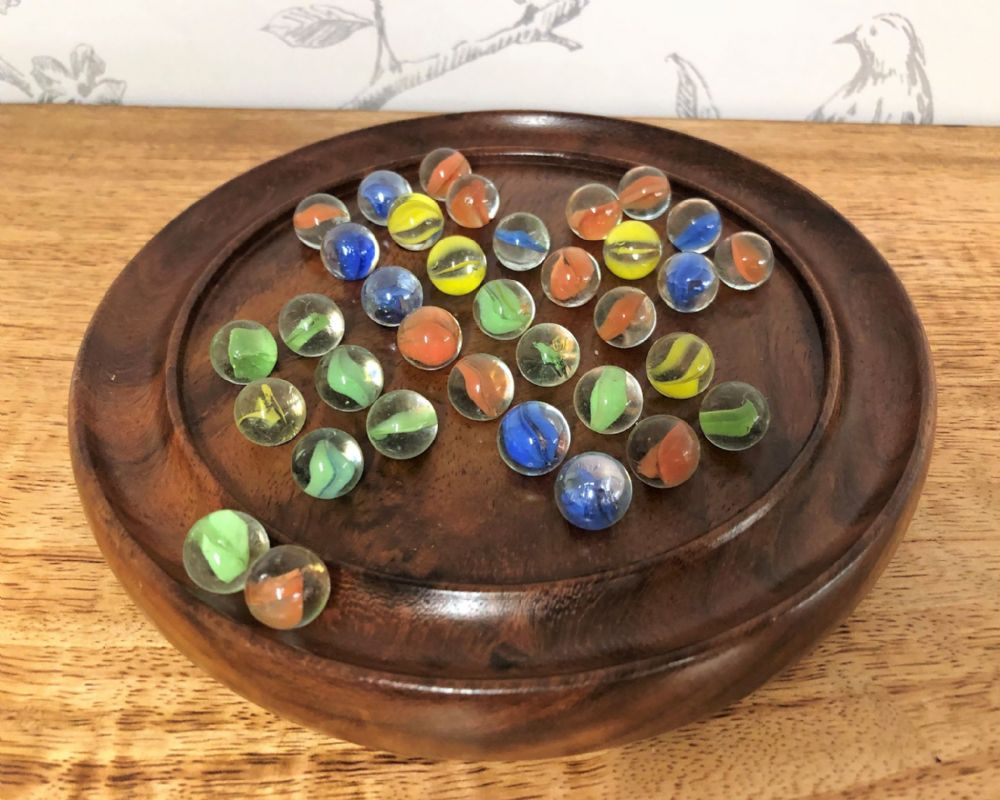 "Hand Crafted Wooden 6"" Solitaire Puzzle Board & Marbles"